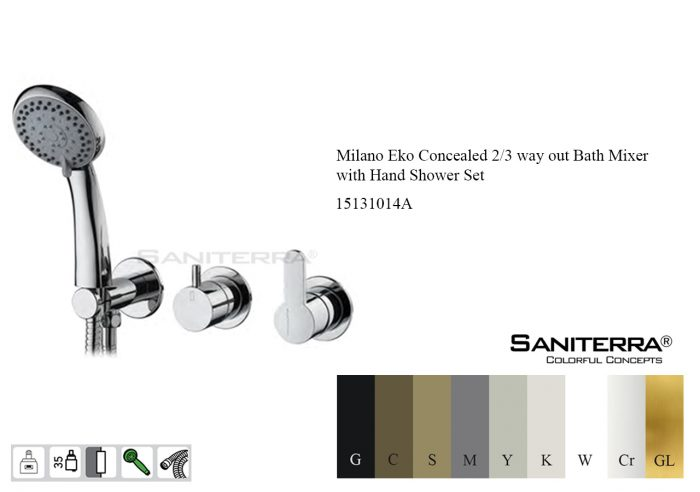 15131014A-concealed bath mixer taps 2-3 way milano Eko