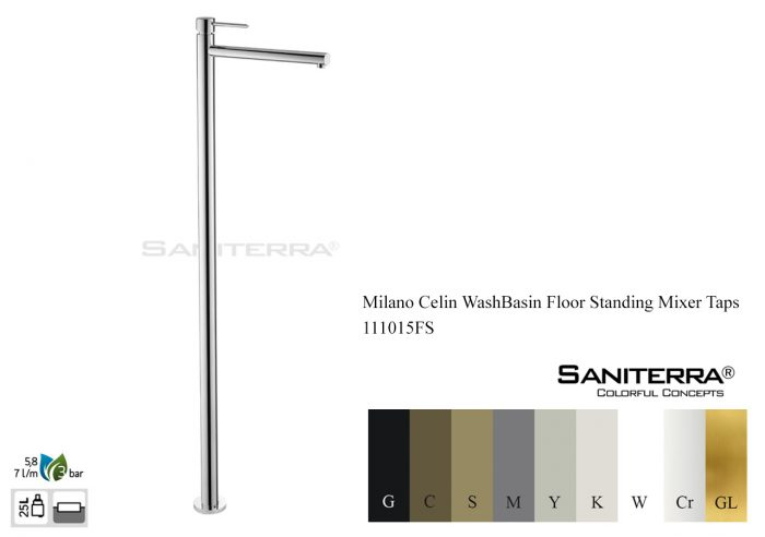 111015FS-washbasin floor standing mixer Celin