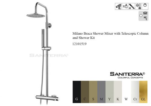 12101519-milano celin shower mixer with telescopic column & shower kit