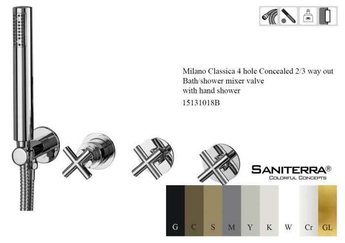 15131018B- 4 hole Concealed 2-3 way out Bath-shower mixer milano classica