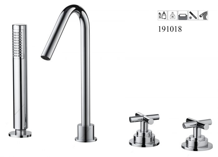 191018-4 hole Deck Mounted Bathtub mixer with hand shower Classica
