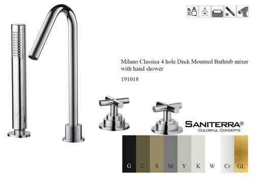 191018-4 hole Deck Mounted Bathtub mixer with hand shower milano classica