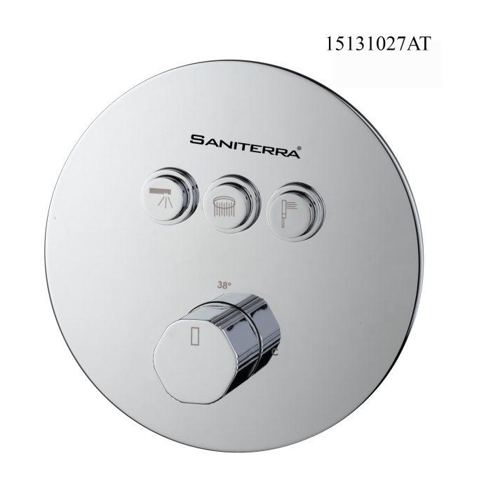 15131027AT-Torneiras termostáticas invisíveis redondas de 3 vias com botão de pressão