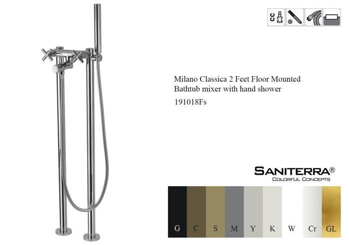 191018Fs-2 Feet Floor Mounted Bathtub mixer with hand shower milano classica